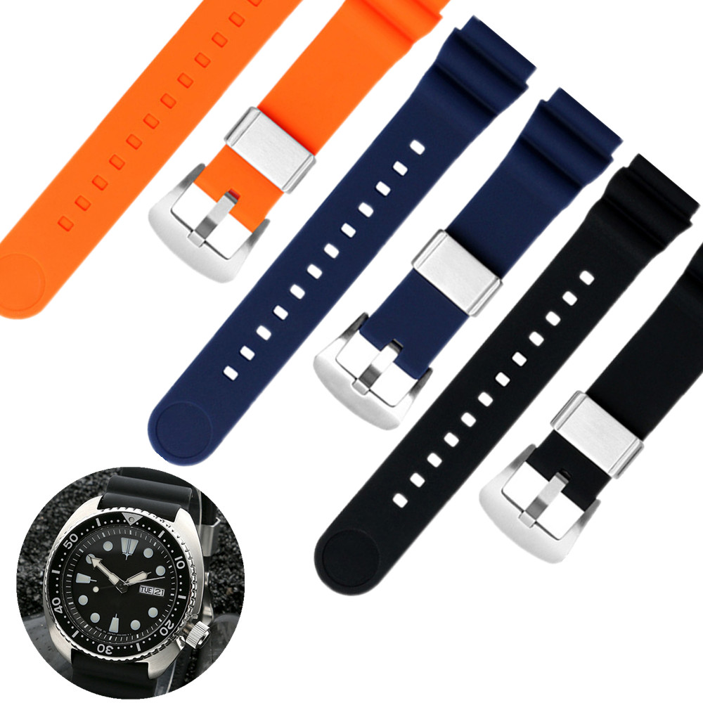20mm Diver Rubber Strap Soft Silicone Replacement Wrist Strap Bracelet With Tools For Grand SeikoWatch 5 PROSPEX SRPA21J1 Blue