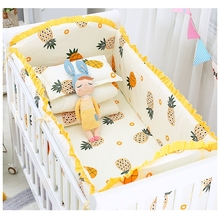 цены 5pcs/set Cartoon Baby Bedding Set Cotton Newborns Crib Bumpers Detachable Baby Bed Linens Include 4 pcs Bumpers 1pcs Bed Sheet