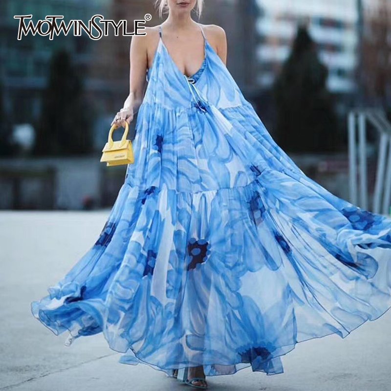 TWOTWINSTYLE Elegant Print Loose Women Dress O Neck Sleeveless Spaghetti Strap High Waist Hit Color Ruched Midi Dresses Female