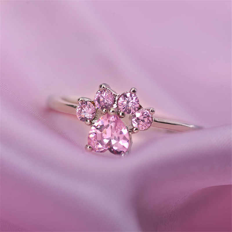2019 New Pink Crystal Engagement Rings For Women Rose Gold Adjustable Rings Jewelry Rings Wedding Ring Female Cat Claw Opening R