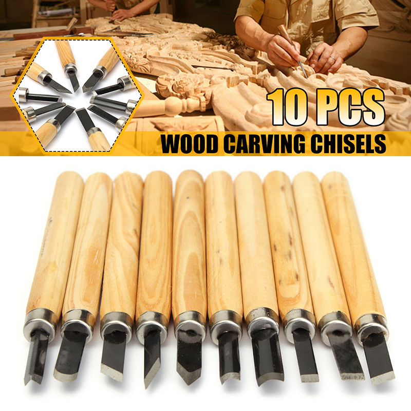 DOERSUPP 10pcs/lot Wood Carving Chisels Knife For Basic Wood Cut DIY Tools And Detailed Woodworking Gouges Hand Tools