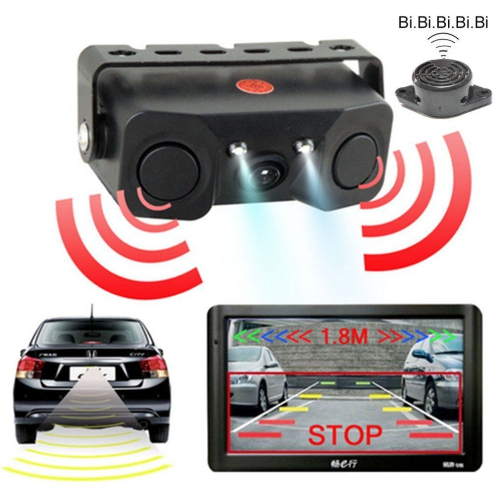 LESHP Camera-Detector Vehicle-Camera Led-Light Night-Vision Reverse-Sensor HD Rearview-Mirror title=