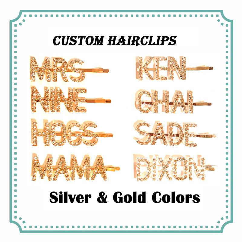 Personalized Name Word Hairclips Custom Letters Hair Pin Customized Hair Clip British Hot Hair Bobby Pins Silver&Gold Colors