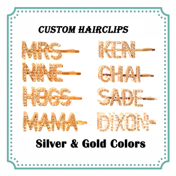 Personalized Name Word Hairclips Custom Letters Hair Pin Customized Hair Clip British Hot Hair Bobby Pins Silver&Gold Colors new arrival hot words hairclips melanin jealous blessed pitiless hair pins great quality hair accessories wholesale
