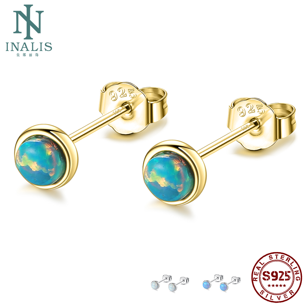 INALIS 925 Sterling Silver Fire Opal Stud Earrings For Women Elegant Small 3 Color Earing Anniversary Fine Jewelry Gift On Sale