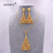 African wedding party bridal gifts jewelery set 24K Ethiopian Gold jewelry sets for women necklace pendant earring Indian Dubai bridal jewelry sets wedding necklace earring for brides party accessories gold plated crystal decoration women