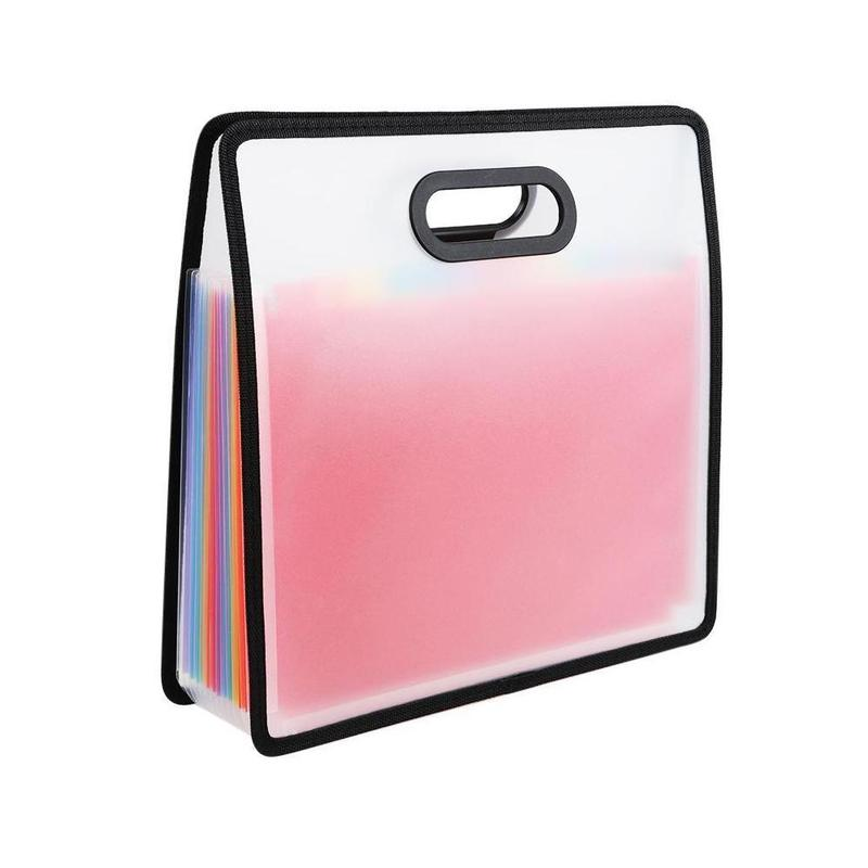 1piece Rainbow Color Portable Organ Bag Expansion Folder A4 File Filing Cabinet Portable Receipt Storage Bag Office Stationery