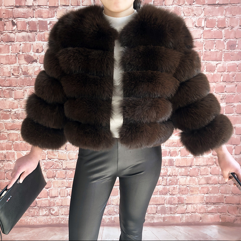 2019 new style real fur coat 100% natural fur jacket female winter warm leather fox fur coat high quality fur vest Free shipping 177