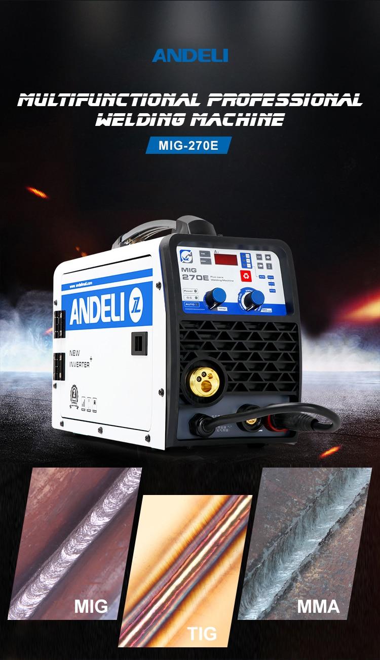 Equipo de soldar ANDELI monofásica MIG ARC MMA TIG, soldador sin gas, 220V, 3 en 1