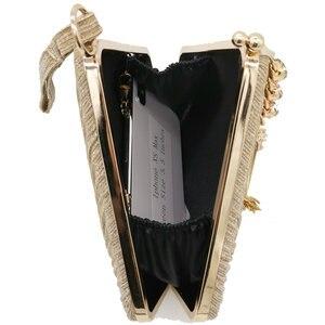 Image 5 - Butik De FGG Pentagon kadın saten akşam çantalar kristal püskül debriyaj çanta düğün parti kokteyl Minaudiere çantalar çanta