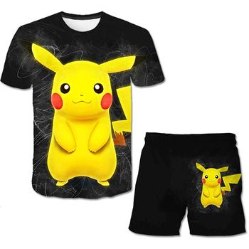 Pokémon chłopcy odzież dziecięca 3D zestawy 2021 lato krótki rękaw aktywne garnitury Pokemon drukuj ubrania dla dzieci 2 sztuk chłopiec zestaw tanie i dobre opinie POLIESTER spandex Damsko-męskie 4-6y 7-12y 12 + y moda CN (pochodzenie) Z okrągłym kołnierzykiem Brak Tshirts and Pants