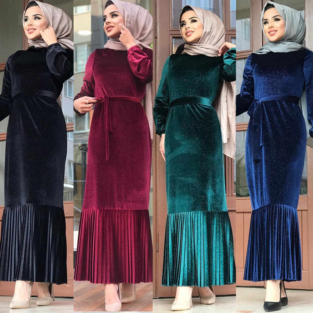 벨벳 Kaftan 두바이 Abaya 터키 Hijab 이슬람 드레스 Abayas 여성 Caftan 파키스탄 사우디 이슬람 의류 라마단 Jilbab 드레스
