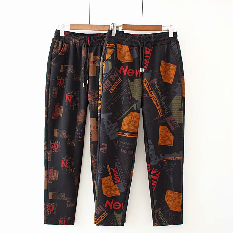 Women Winter Thick Fleece Warm Pants Retro Letter Print Design Female Elastic Waist Large Size Streetwear Trousers