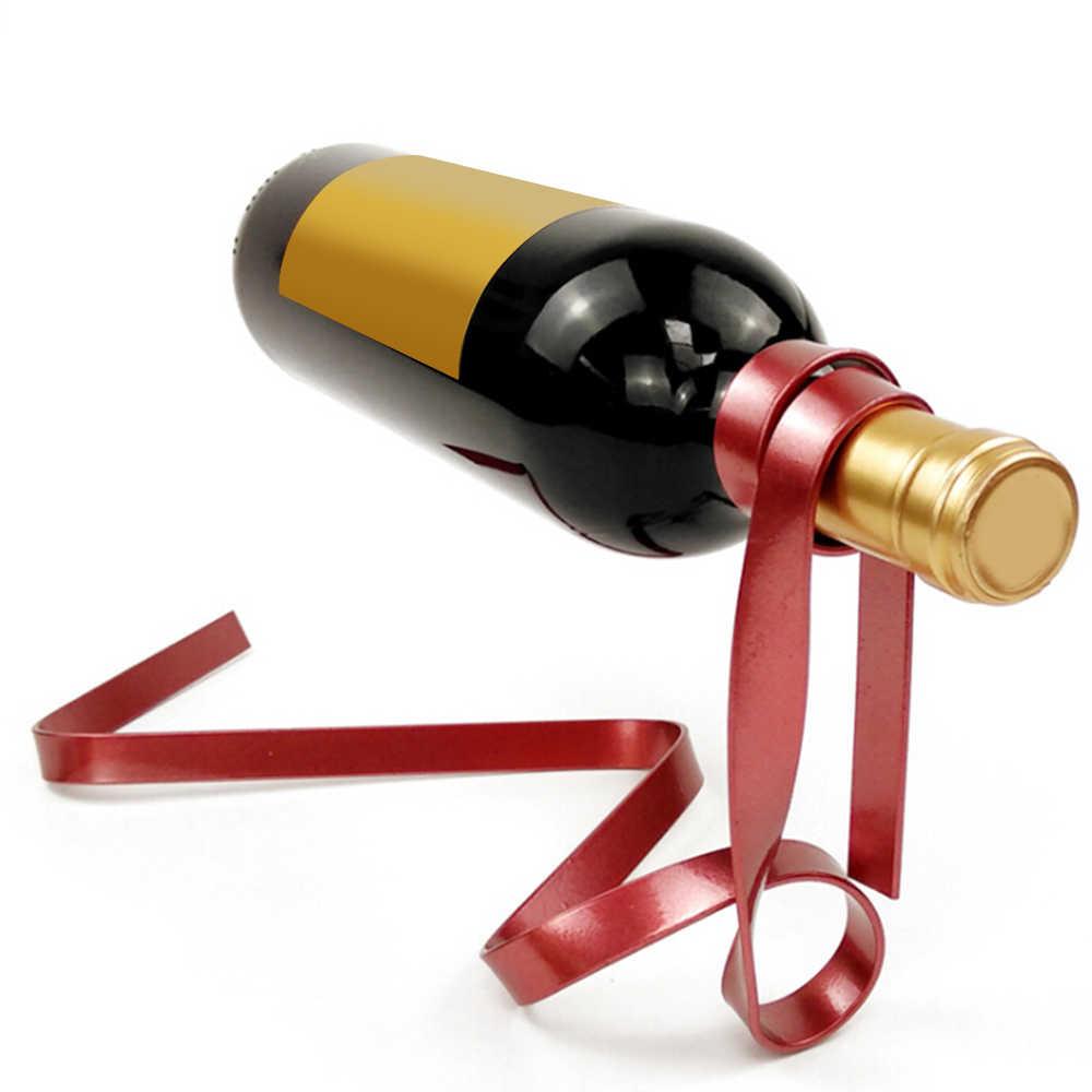 الحديد الشريط تعليق رف عرض النبيذ الجاذبية متوازنة زجاجة نبيذ حامل بار تعليق النبيذ الرف الجدول الديكور الحرف