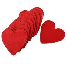 10 sztuk czerwone drewniane plastry serca drewniane serce zdobienie do dekoracji ślubnych
