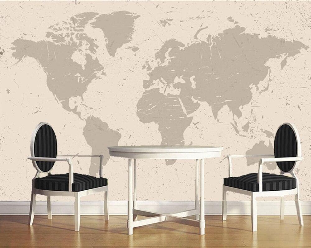 Papel de parede nordique minimaliste rétro beige carte du monde 3d papier peint mural, salon chambre papiers peints décor à la maison murale