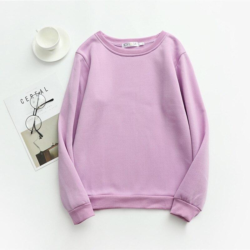 Women Solid Sweatshirts Korean Style Autumn Ladies Student Round Neck Long Sleeve Loose Pullover Tops WDC6301 17
