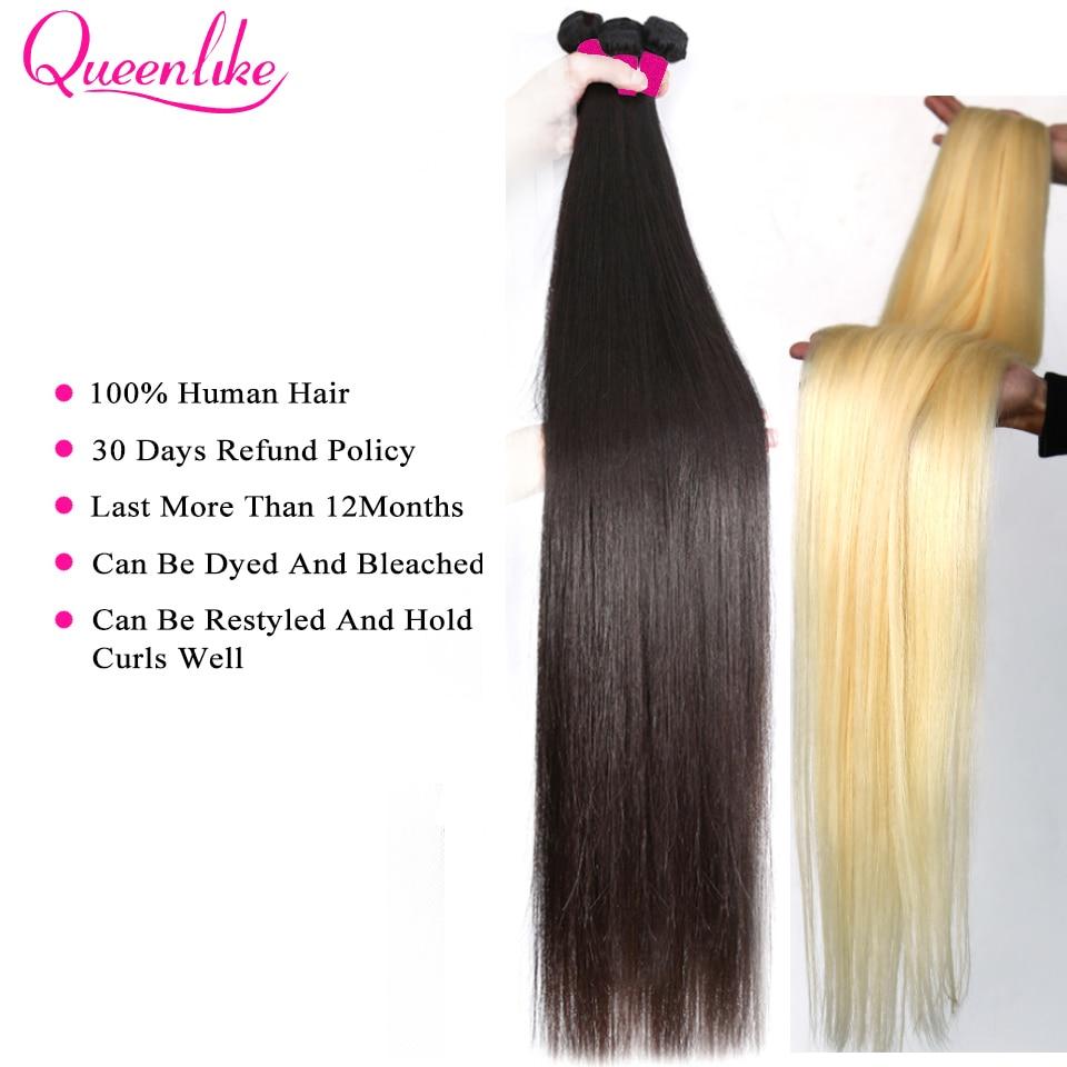 Blonde 613 Color 34 36 38 40 Inch Long  Straight Hair Bundle   Double Weft   Bundles 4