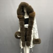 High Quality Hooded real rex rabbit fur liner parkas wholeskin women coat natural fox jacket parka femme