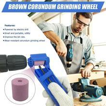 цена на Corundum Wheel Portable Drill Bit Sharpener Brown Corundum Wear Resisting Grinding Wheel Tool Accessories 27X25X25mm
