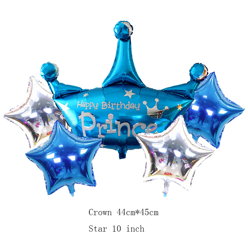 5pcs/lot Kids Princess Crown Foil Balloons Mini Balloons Birthday Party Decorations  Crown  Baby Shower Cartoon Hat