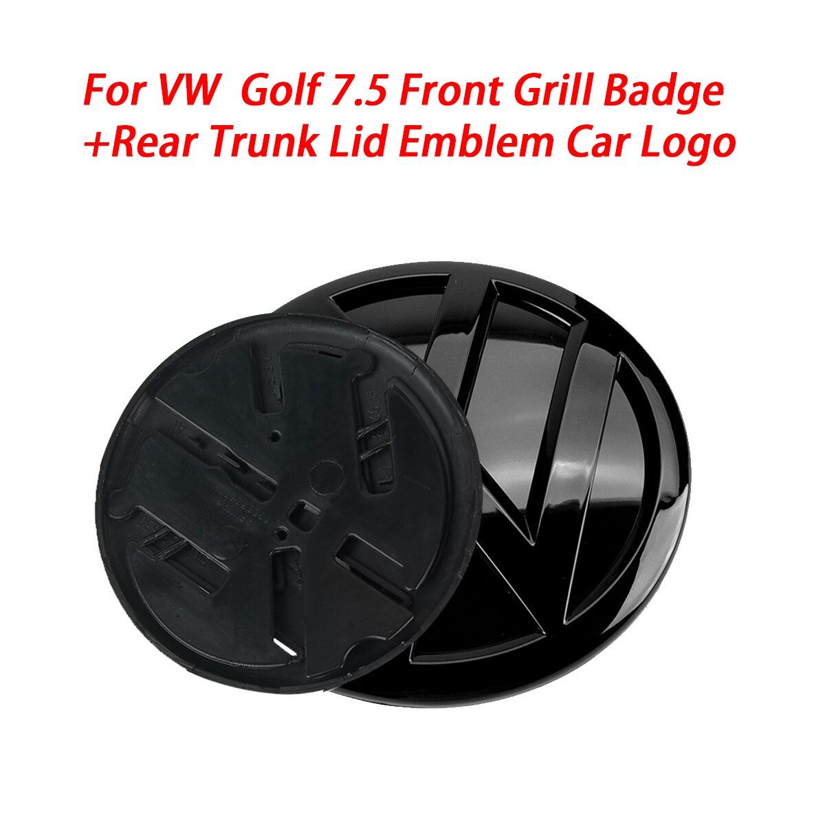 Блестящий черный 140 мм значок на переднюю решетку + 110 мм эмблема на заднюю крышку багажника, логотип автомобиля подходит для VW Volkswagen Golf MK7.5 2017...