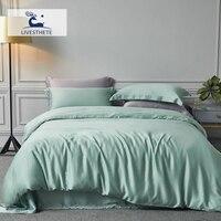 Liv Esthete 100% Natural Silk Green Bedding Set Duvet Cover Flat Sheet Luxury Double Queen King Bed Linen Set For Family Sleep