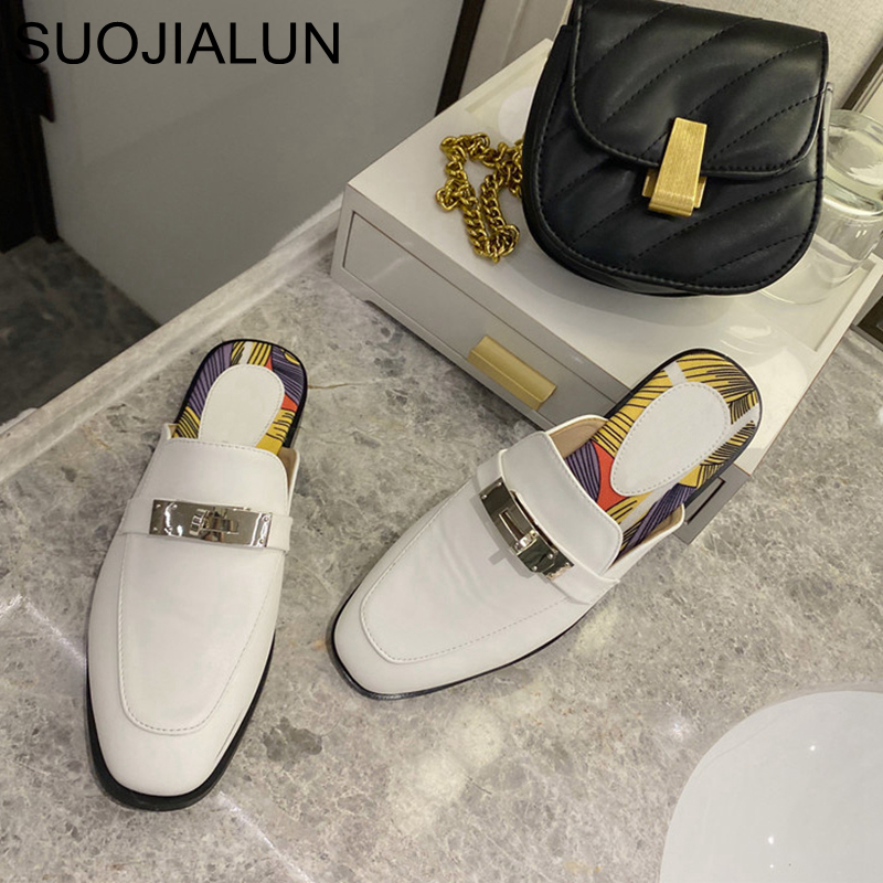 SUOJIALUN 2020 Brand Design Women Mules Round Toe Slip On Slippers Metal Buckle Outdoor Slides Women Lazy Slipper Sandal Shoes