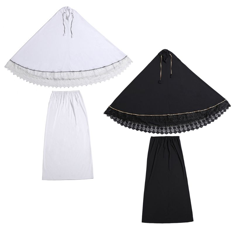2pcs Muslim Women Traditional Robe Dress Double Layer Islamic Prayer Sets