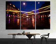 Modern Colorful Photo Picture beautiful long revier exposure city at Room Decor Cities Canvas Art Painting