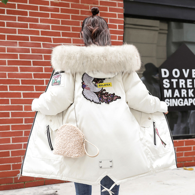 Толстая зимняя куртка, Длинная женская куртка с меховым воротником, большой размер, хлопок, Женская парка, свободные зимние женские зимние пальто 2019