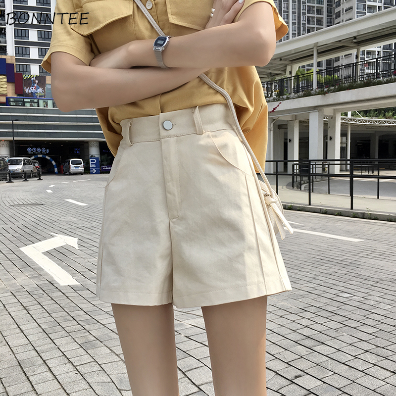 Shorts Women Summer Trendy Korean Style All-match Simple Solid High Quality Soft Kawaii Ulzzang Womens Trousers Chic Casual Thin