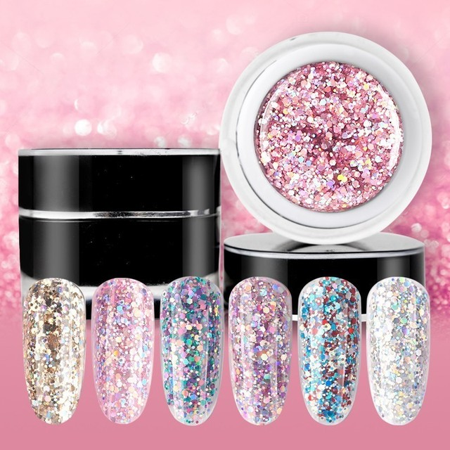 Beautilux 1Pcพราวประกายสายรุ้งเล็บเจลPolish Soak Off UV LEDเล็บArt Glitter Bling Rose Gold Silverเจล10G