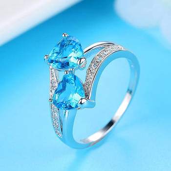 Transparent Red Blue Tricolor Zircon Ring Girlfriend Birthday Present Glamour Couple Double Love Engagement Ring Female Ring 2