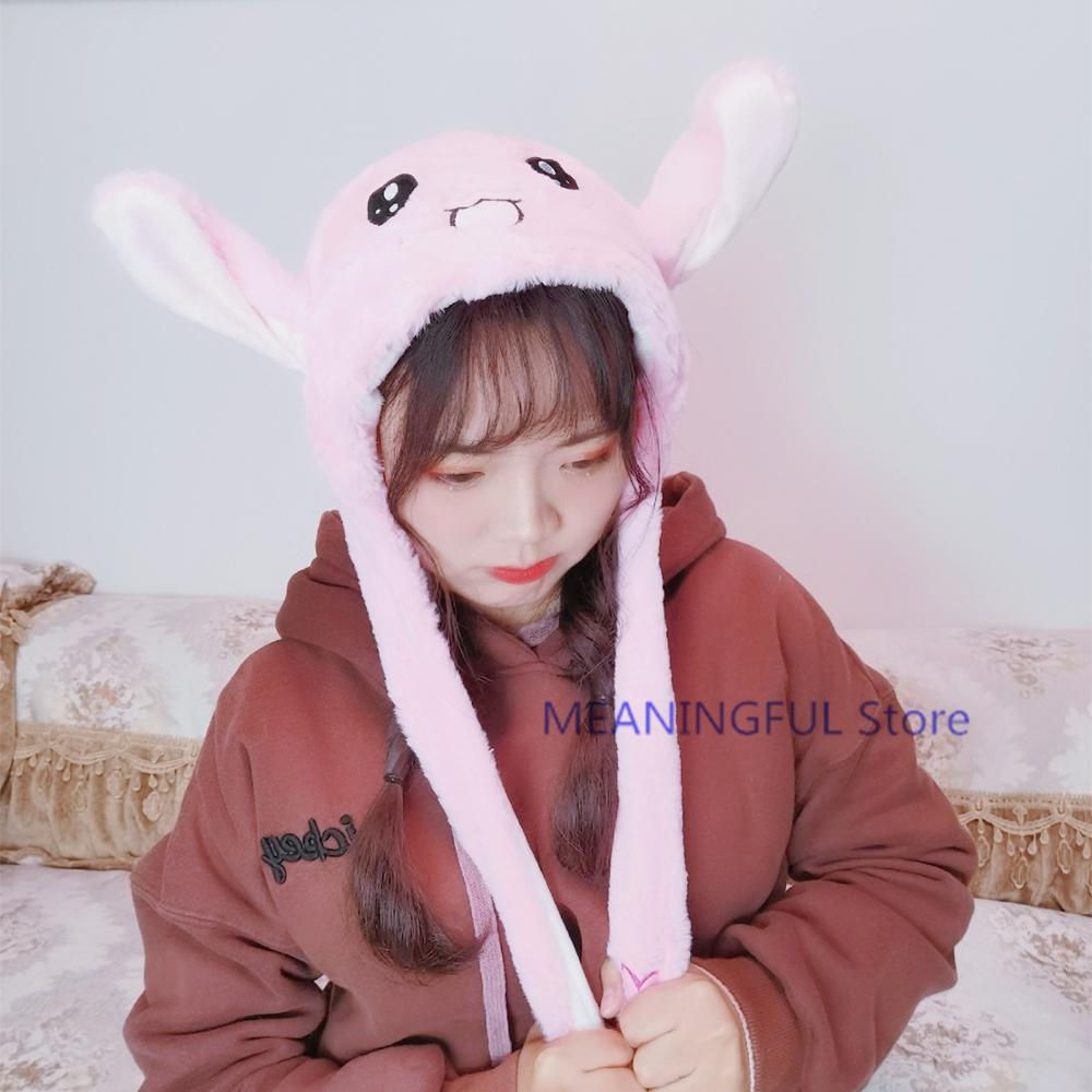 Tiktok Hot Cartoon Hat Kawaii Rabbit Unicorn Stuffed Animals Airbag Funny Moving Ear Plush Toys Hat Kids Toys
