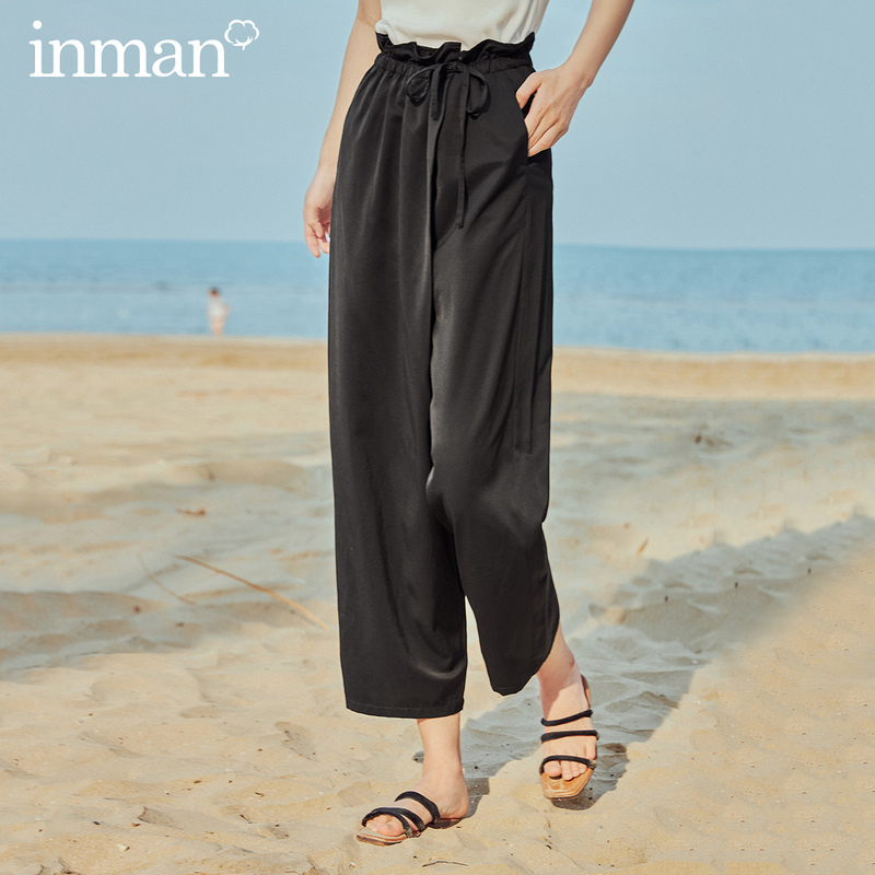 INMAN 2020 Summer New Arrival High Waist Bow Loose Casual Literary Ankle Length Bud Pant