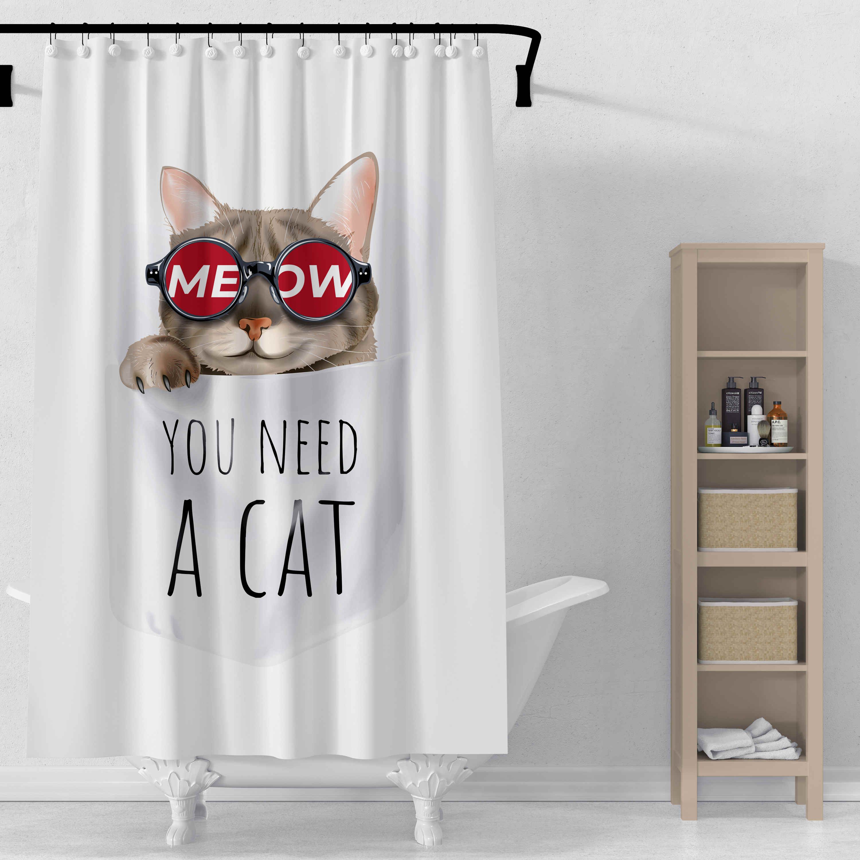Cat Printing Shower Curtain 3d Print Bathroom Waterproof Polyester Curtain Octopus Washable Bath Decor Curtains With 12 Hook Shower Curtains Aliexpress