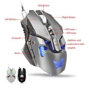 Image 3 - משחקי Wired עכבר 3200DPI מתכוונן משקל הגדרת מאקרו Wired עכבר מקצועי בדרגה גיימר LED עבור מחשב PC PUBG