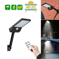 48 LED Remote Control Solar Wall Light PIR Motion Sensor Waterproof Outdoor Lamp Upgraded Street Lamps Lights