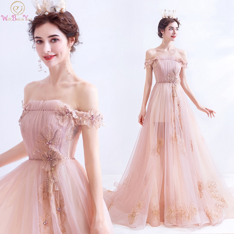 Light Pink Off The Shoulder A-Line Prom Dresses 2019 New Illusion Applique Fairy Long Evening Party Formal Gowns Walk Beside You