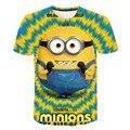 Детская Милая желтая футболка с коротким рукавом и мультяшным рисунком для мальчиков и девочек, футболки с 3D-принтом, Детские повседневные ...