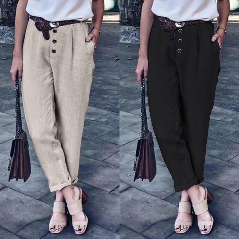 Plus Size Women's Harem Pants 2020 ZANZEA Cotton Trousers Fashion Button Turnip Female Mid Wasit Long Pantalons Casual Palazzo