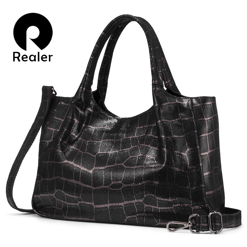 Realer Women Handbags Genuine Leather Retro Leisure Shoulder Bags High Quality For Ladies Big Capacity Tote Bags Female Chain
