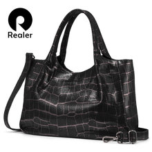 Realer women handbags genuine leather retro leisure shoulder bags high