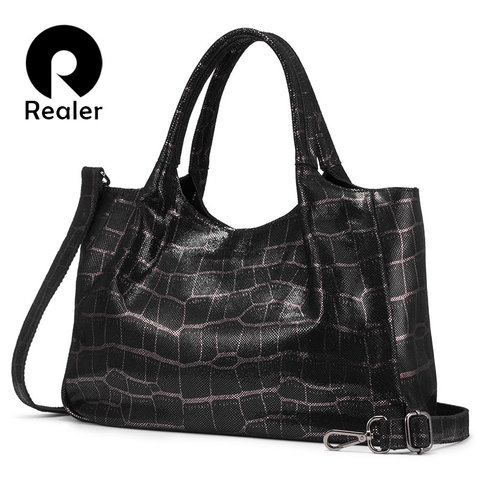 Realer women handbags genuine leather retro leisure shoulder bags high quality for Ladies big capacity Tote bags female chain Pakistan