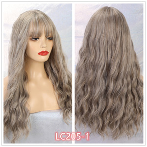 Image 4 - EASIHAIR Long Wave Blue Synthetic Wigs With Bangs Cosplay Wigs for Black White Women 8 Colors Heat Resistant Fake Hair