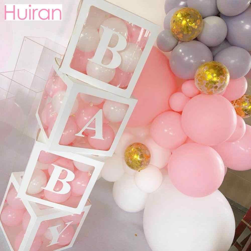HUIRAN transparente nombre CAJA DE EDAD niña niño decoración de baño de bebé 2 1st 1 una decoración de fiesta de cumpleaños regalo Babyshower suministros