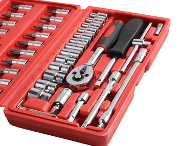 цена на 46-Piece Set of Auto Repair Tools Packaged Combination Manual Hardware Tools Set of Machine Repair Socket Wrench Automobile Tool