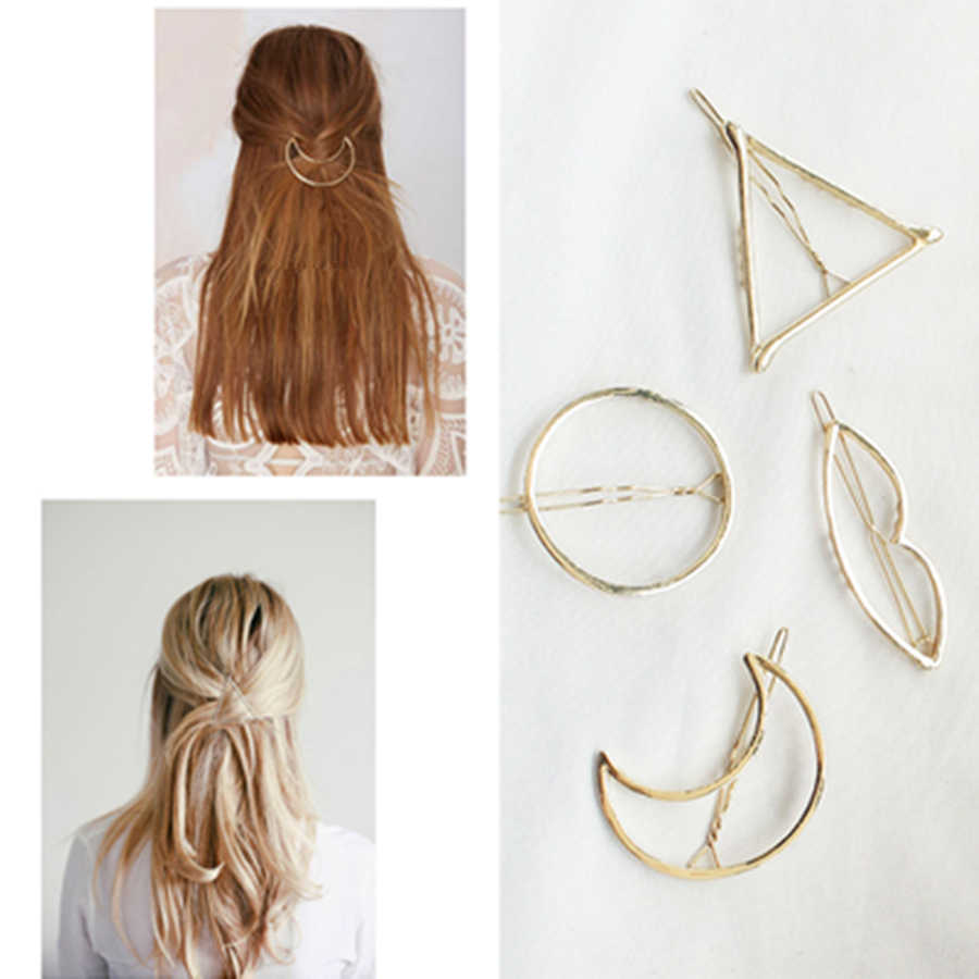 1Pcs Fashion Gold Lip Triangle Hair Clip Barrettes Crystal Pearl Hairpin Barrette Color Feather Hair Claws Hair Styling Tool