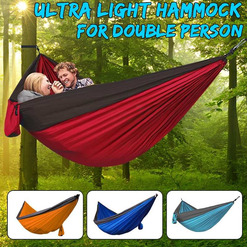 Portable Camping Parachute Hammock Survival Garden Outdoor Furniture Leisure Sleeping Hamaca Travel Double Hanging Bed